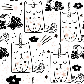 Seamless childish pattern with cute fairy cat unicorn. Creative blackand white kids texture for fabric, wrapping, textile, wallpaper, apparel. Vector illustration