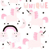 Seamless childish pattern with cute fairy unicorn. Creative pink white kids texture for fabric, wrapping, textile, wallpaper, apparel. Vector illustration