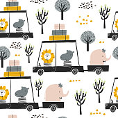 Seamless childish pattern with cute friends, lion, hippo, elephant in the car. Creative kids texture for fabric, wrapping, textile, wallpaper, apparel. Vector illustration