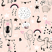 Seamless childish pattern with cute hand drawn animals and textures. Creative kids texture for fabric, wrapping, textile, wallpaper, apparel. Vector illustration