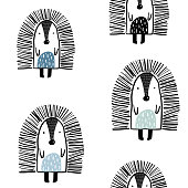 Seamless childish pattern with cute hedgehog in black and white style. Creative woodland kids texture for fabric, wrapping, textile, wallpaper, apparel. Vector illustration