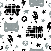 Seamless childish pattern with cute hero mask, flas, star,cloud. Creative kids texture for fabric, wrapping, textile, wallpaper, apparel. Vector illustration