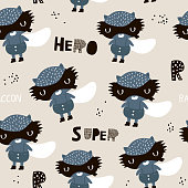 Seamless childish pattern with cute hero raccoons. Creative kids texture for fabric, wrapping, textile, wallpaper, apparel. Vector illustration