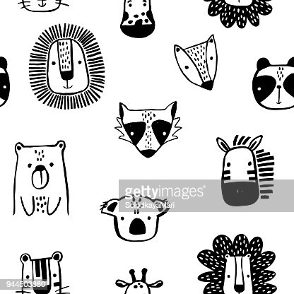 Seamless childish pattern with cute ink drawn animals in black and white style. Creative scandinavian kids texture for fabric, wrapping, textile, wallpaper, apparel. Vector illustration : Vector Art