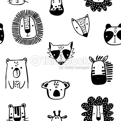 Seamless childish pattern with cute ink drawn animals in black and white style. Creative scandinavian kids texture for fabric, wrapping, textile, wallpaper, apparel. Vector illustration : stock vector