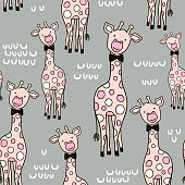 Seamless childish pattern with cute pink giraffe and hand drawn shapes. Creative kids texture for fabric, wrapping, textile, wallpaper, apparel. Vector illustration