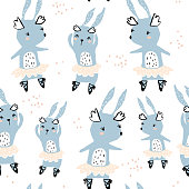 Seamless childish pattern with cute rabbits ballerines. Creative kids texture for fabric, wrapping, textile, wallpaper, apparel. Vector illustration