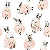 Seamless childish pattern with cute rabbits Creative kids texture for fabric, wrapping, textile, wallpaper, apparel. Vector illustration