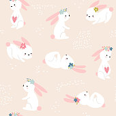 Seamless childish pattern with cute rabbits. Creative spring kids texture for fabric, wrapping, textile, wallpaper, apparel. Vector illustration