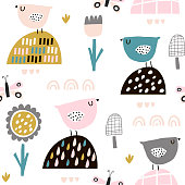 Seamless childish pattern with fairy flowers, birds, butterflies. Creative kids texture for fabric, wrapping, textile, wallpaper, apparel. Vector illustration