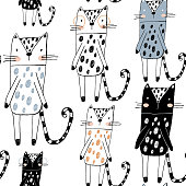 Seamless childish pattern with funny cats in black and white style. Creative scandinavian kids texture for fabric, wrapping, textile, wallpaper, apparel. Vector illustration