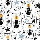 Seamless childish pattern with hand drawn cute bears and stars. Creative kids texture for fabric, wrapping, textile, wallpaper, apparel. Vector illustration