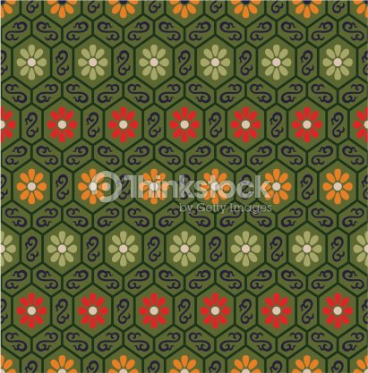 Seamless Chinese Geometric Floral Pattern Vector Art