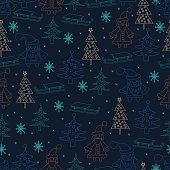 Seamless Christmas background. Hand drawn pattern with Santa Claus, fir trees, snowflakes, sledge.