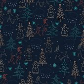 Seamless Christmas background. Hand drawn pattern with deers, fir trees, snowman, snowflakes.Seamless Christmas background. Hand drawn pattern with Santa Claus, fir trees, snowflakes, sledge.