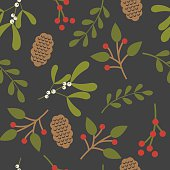 Seamless christmas background with leaf and mistletoe design