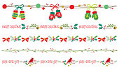 Seamless Christmas decorative borders vector illustration set.