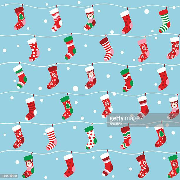 Seamless Christmas stocking background