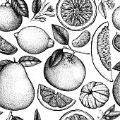 Vector seamless pattern with ink hand drawn citrus fruit, flowers, slice and leaves sketch. Vintage citrus background