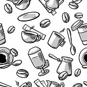 Seamless Coffee Pattern hand drawn vintage vector illustration