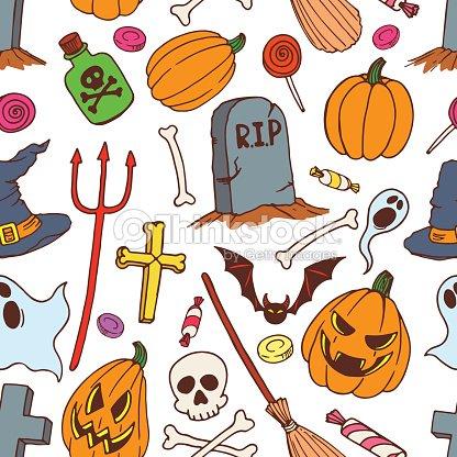 Seamless Colorful Halloween Symbols Vector Art | Thinkstock