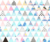 Seamless colorful pattern with geometric shapes. Hand drawn background for your design. Textile, blog decoration, banner, poster, wrapping paper, cards, wallpaper, pattern fills, web page background.
