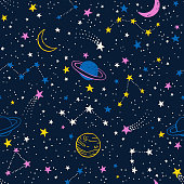 Vector colorful space seamless pattern with planets, comets, constellations and stars. Night sky hand drawn doodle astronomical background