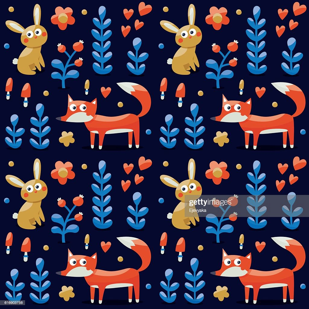 Seamless cute pattern made with fox, rabbit, hare, flowers, animals : Vector Art