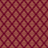 Seamless Damask Pattern on burgundy background. Vector illustration