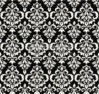 Seamless damask papel pintado blanco y negro arte for Papel pintado blanco y negro