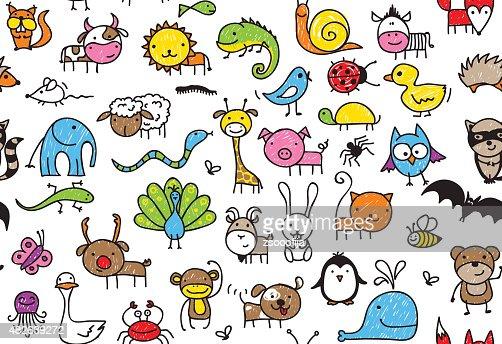 Dibujos Animados De Animales Estudiando: Seamless Doodle Animal Pattern Vector Art