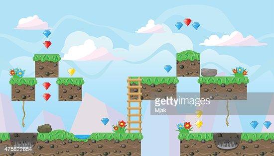 Seamless editable landscape for platform game design : Vector Art