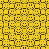 Seamless happy emoji pattern. Line smiley background