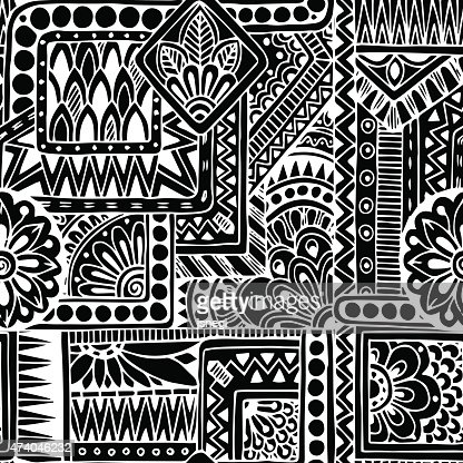 Seamless ethnic doodle black and white background pattern in vector vector art