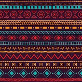 seamless ethnic ornament, aztec and tribal motifs, ornament drawn by hand, blue, yellow, red and purple colors, horizontal lines, print for your textiles, vector illustration