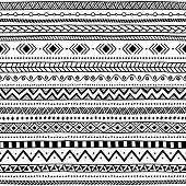seamless ethnic pattern, black and white, striped background, aztec and tribal motifs, prints for textiles, vector illustration