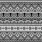 seamless ethnic pattern, black and white, vector illustration, drawing by hand