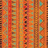 seamless ethnic pattern, grungy texture, orange, blue, red and purple colors, vintage vector illustration