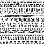 seamless ethnic pattern, handmade, horizontal stripes, black and white print for your textiles