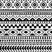 seamless ethnic pattern, handmade, horizontal stripes, black and white, print for textiles, vector illustratio