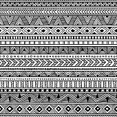 seamless ethnic pattern, black and white striped background, aztec and tribal motifs, prints for textiles, vector illustration