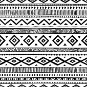 seamless ethnic pattern, handmade, horizontal stripes, black and white print for your textiles, vector illustration