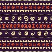 seamless ethnic pattern, vintage striped print, vector illustration