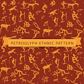 Seamless ethnic petroglyph saami pattern in orange color on brown background