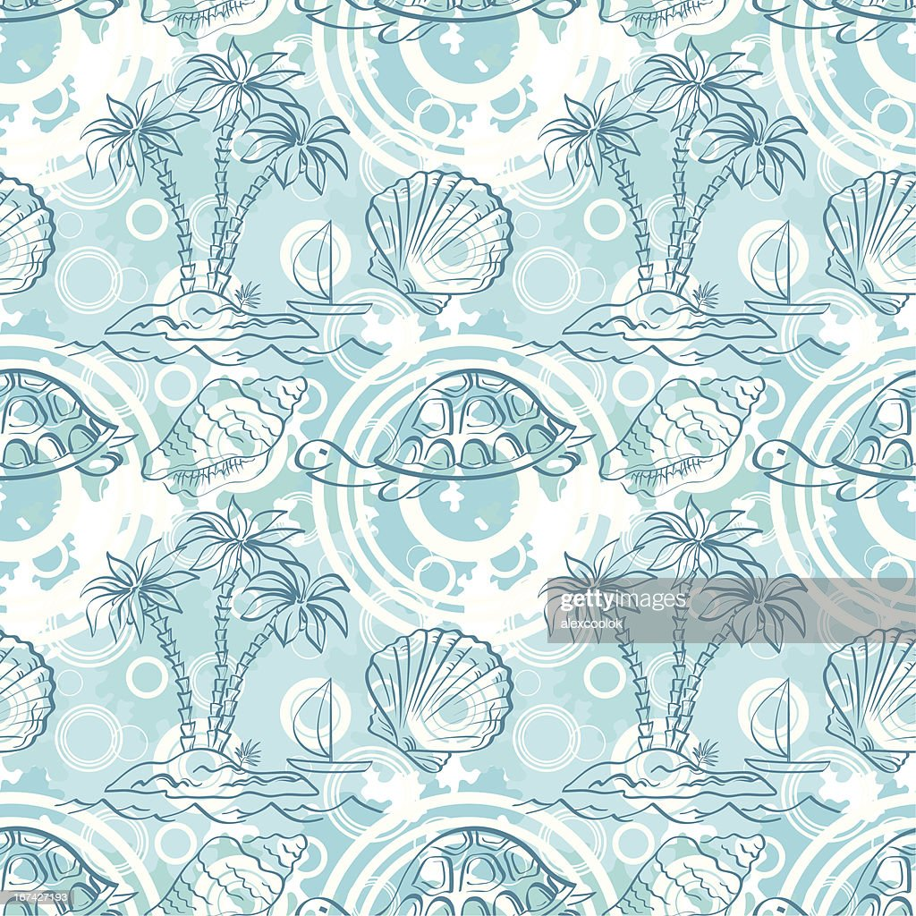 Seamless exotic ocean pattern : Vector Art