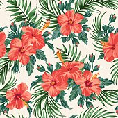Seamless exotic pattern with tropical leaves and flowers on a white background. Hibiscus, palm. Vector illustration.