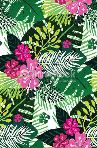 09ff8fb440 Hojas de patrones exóticos sin fisuras con la palma verde rosa sobre fondo  blanco.