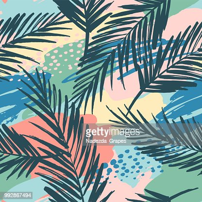 Seamless exotic pattern with tropical plants and artistic background. : stock vector