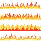 Illustration of seamless burning fire flame. Editable vector illustration.