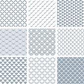 Seamless fish scale patterns set. Vector art.